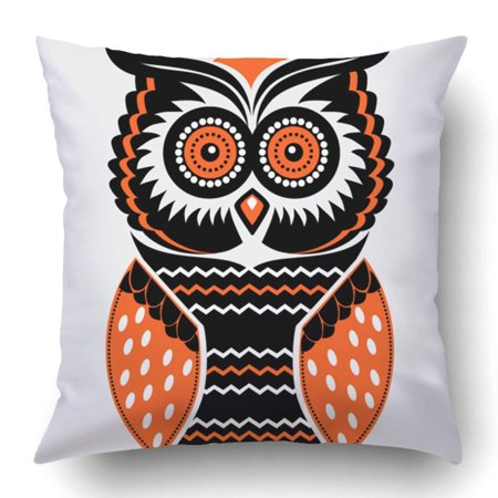 ARTJIA Orange Halloween Owl Vintage Hipster Folk Cute Night Animal Cartoon Pillowcase 18x18 inch (Folk Art Halloween Crafts)