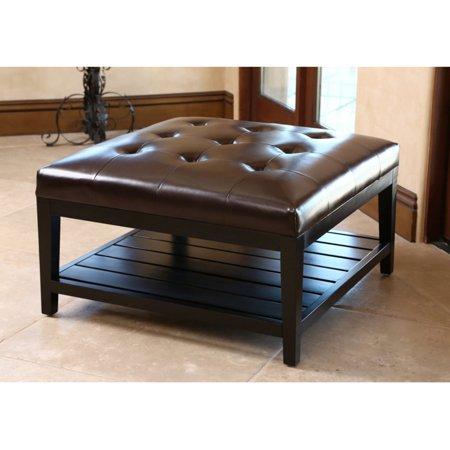 Abbyson Villagio Tufted Leather Square Coffee Table Ottoman Dark Brown