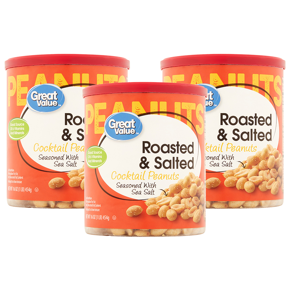 Great Value Roasted Salted Cocktail Peanuts 16 Oz Blue Diamond Almonds Barbecue 130 Gr
