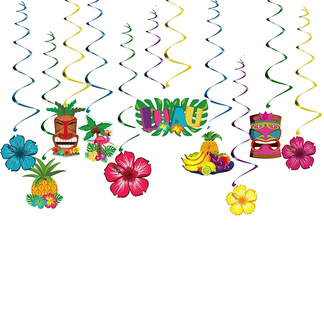 30PCS Luau Party Decorations Flowers Fruits Hanging Swirl Hawaiian Party Supplies Party Beach Favors