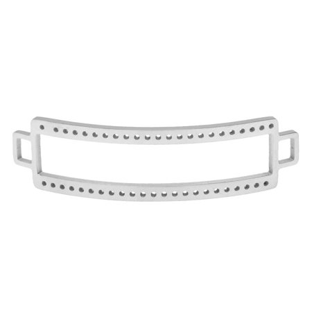 Centerline Beadable Connector Link, Curved Rectangle with Cutout and Holes 47x13mm, 1 Piece, Silver Plated