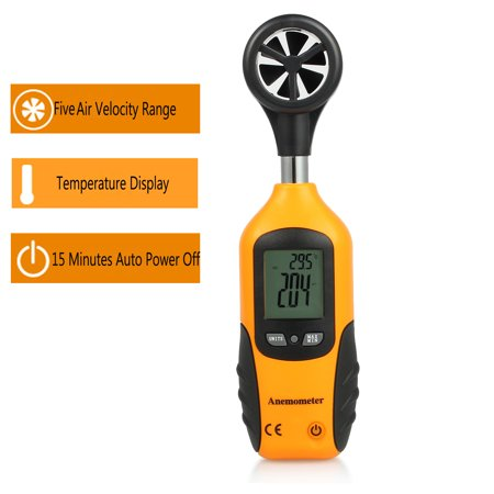 ESYNIC Portable Digital Anemometer LCD Wind Speed Temperature Measure Gauge Air Flow Tester Wind Speed Meter Handheld Anemometer Thermometer with LCD Display