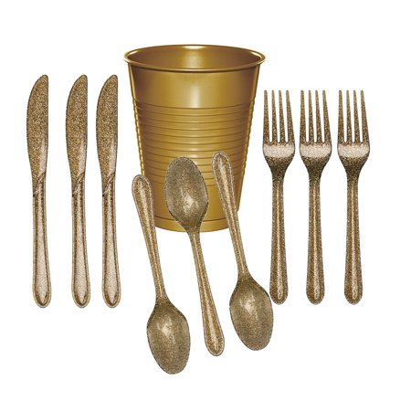 Creative Converting Glitz Gold Cutlery (24 Utensils) and Glittering Gold Plastic Party Cups (20 Count) - Plastic Gold Cups