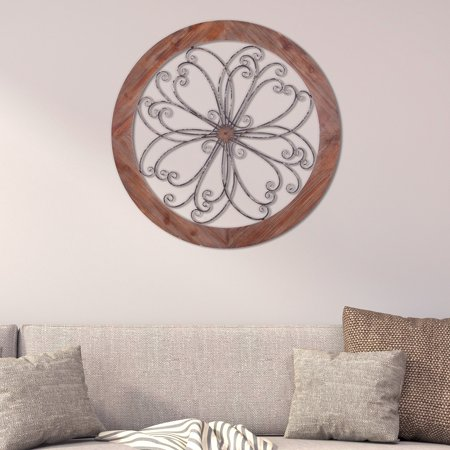 Patton Wall Decor Rustic Round Wood and Metal Decorative Scroll Wall (Decorative Wall Scroll)