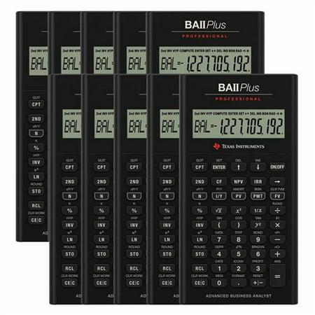 Texas Instruments IIBAPRO/CLM/4L1/A (10-Pack) Texas Instruments TI BA II Plus Professional Financial Calculator - 10 Digit(s) - LCD - Battery Powered - 1
