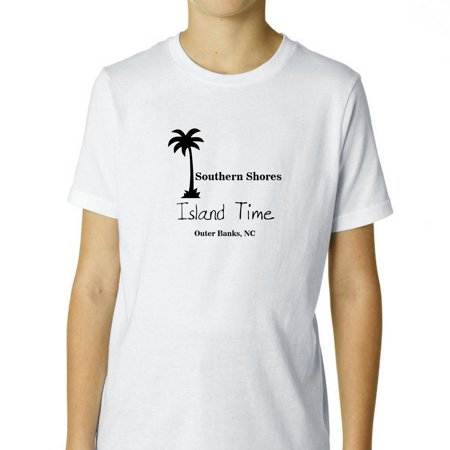 Outer Banks - Southern Shores, NC - Island Time Palm Tree Boy's Cotton Youth T-Shirt ()