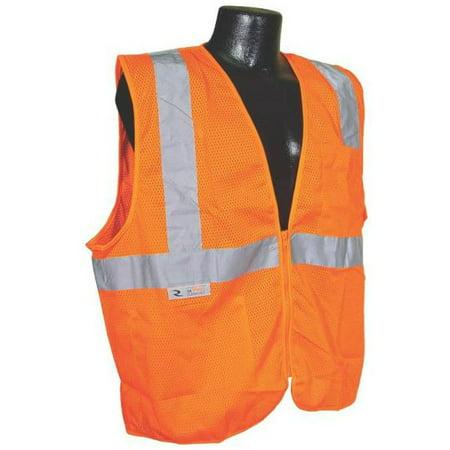 SV2ZOMXL Class 2 Economy Mesh Safety Vest With Zipper, Orange, -