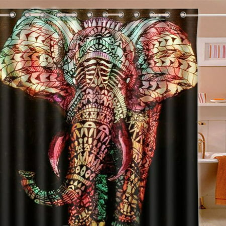 71''x71'' Giant Color Elephant Waterproof Polyester Printed Shower Curtain w/12 Hooks Home Decor Gift