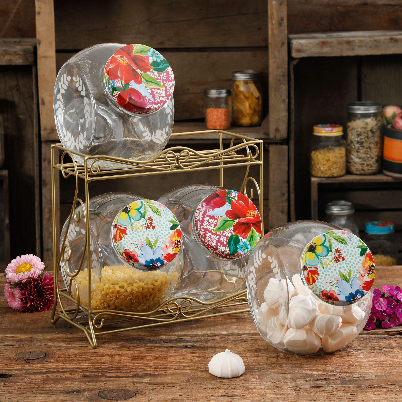 The Pioneer Woman Floral Medley Glass Storage Jars with Metal Rack