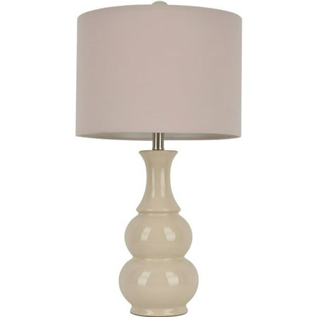Ivory Crackle Double Gourd Ceramic Table Lamp