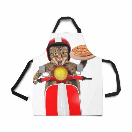 ASHLEIGH Funny Cat Red Motorcycle Pizza Foods Delivery Apron for Women Men Girls Chef with Pockets Adjustable Bib Kitchen Cook Apron for Cooking Baking Gardening Pet Grooming - Chef Cook Bib Apron