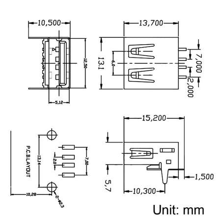 PCB USB Connector A Type Female 90 Degree Front Insert SMT Flat Mouth 5Pcs - image 2 de 4