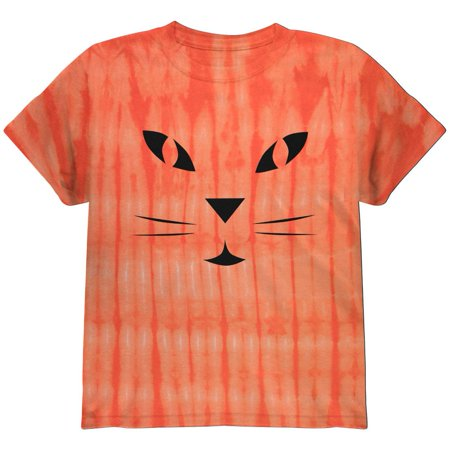 Halloween Jack-O-Lantern Cat Face Tie Dye Youth T-Shirt (Cat Faces For Halloween Easy)