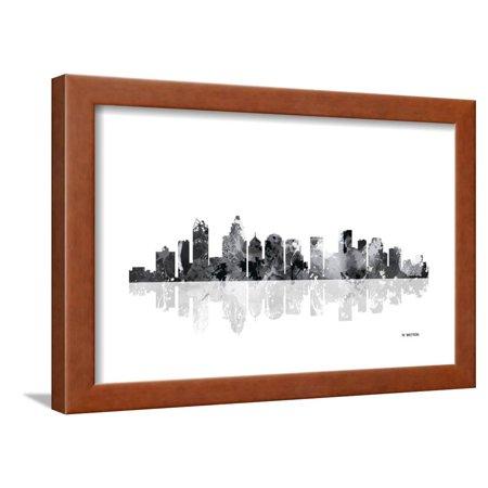 Charlotte nc skyline bg 1 framed print wall art by marlene - Wallpaper store charlotte nc ...