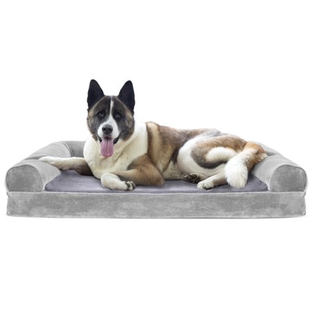 - FurHaven Pet Dog Bed | Cooling Gel Memory Foam Orthopedic Faux Fur & Velvet Sofa-Style Couch Pet Bed for Dogs & Cats, Smoke Gray, Jumbo