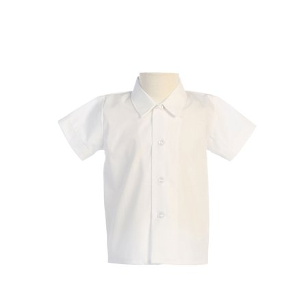 Avery Hill Baby Boys Infant Toddler Short Sleeved Simple Dress Shirt in Ivory or White - White Dress Shirt Boys