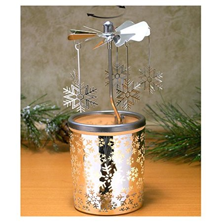 Spinning Snowflakes Candle Holder with Frosted Glass Scandinavian Design 6.25 Inch - Snowflake Candles