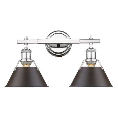 - Orwell CH 2 Light Bath Vanity in Chrome with Rubbed Bronze Shade