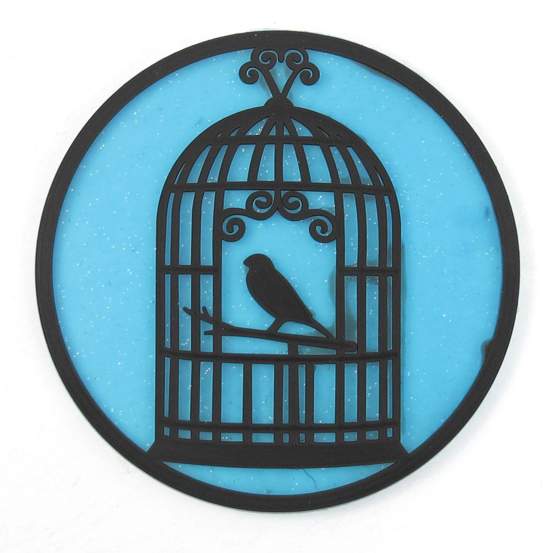 "3.5"" Diameter Black Clear Blue Soft Plastic Heat Insulation Coaster"