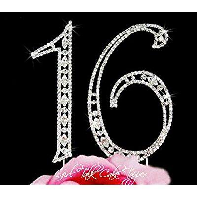Mintbon Large Crystal 16 Sweet sixteen Numbers Rhinestone Crystal Bling Birthday Cake Topper Cake Decoration
