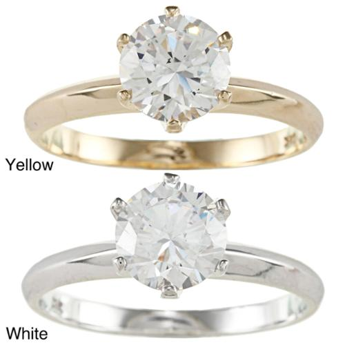 Dimaya 14k Yellow or White Solid Gold 1ct Round Cubic Zirconia Solitaire Ring