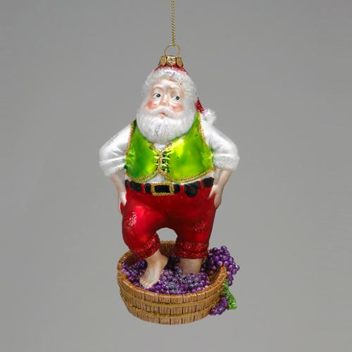 """6.25"""" Tuscan Winery Santa Claus Stomping Grapes Glass Christmas Figure Ornament"""