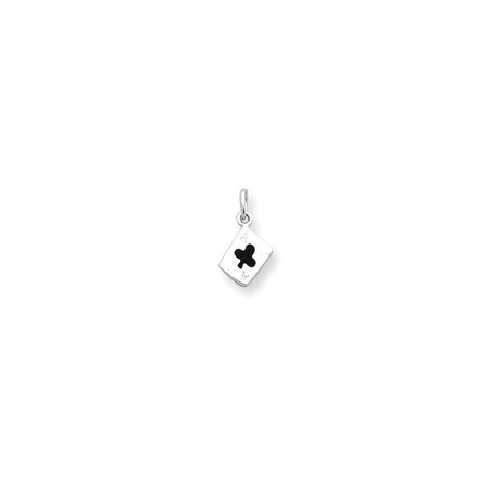 Sterling Silver Enameled Ace Of Clubs Card Charm (Enameled Club Card)