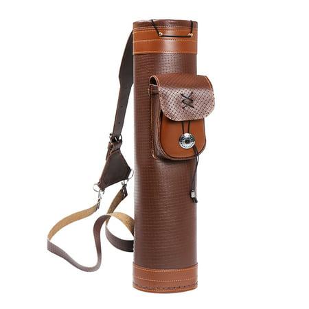 Cow Leather Hunting Archery Quiver Arrow Holder Storage Carrier Shoulder Bag Tube
