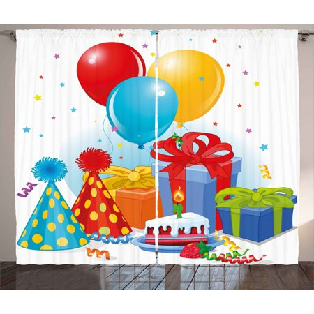 Birthday Curtains 2 Panels Set Multicolor Slice Of Strawberry Pie