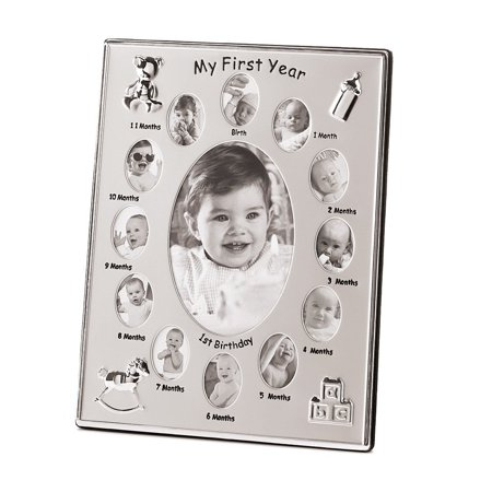 My First Year Baby Month By Month Photo Picture Frame Silver Tone