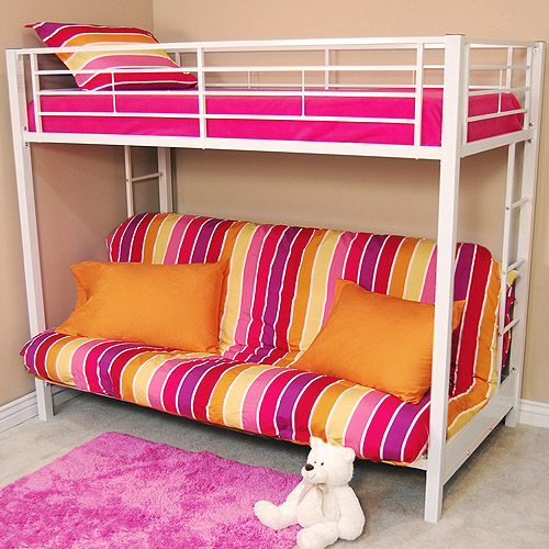 Twin Over Futon Metal Bunk Bed White Box 2 Walmart Com