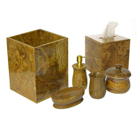 Rembrandt Home Polished Marble 6 Piece Bathroom Accessory Set