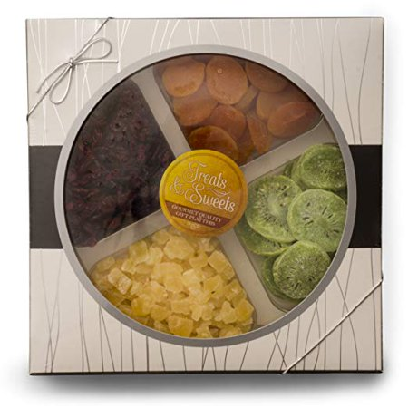 Fruit Basket Gourmet Deluxe, Classic Dried Fruit Platter Apricots, Pineapple, Dried Cranberries, Kiwi, Kosher, Beautiful Box W/ Silver Ribbon, Healthy Food Party Tray - Healthy Halloween Food