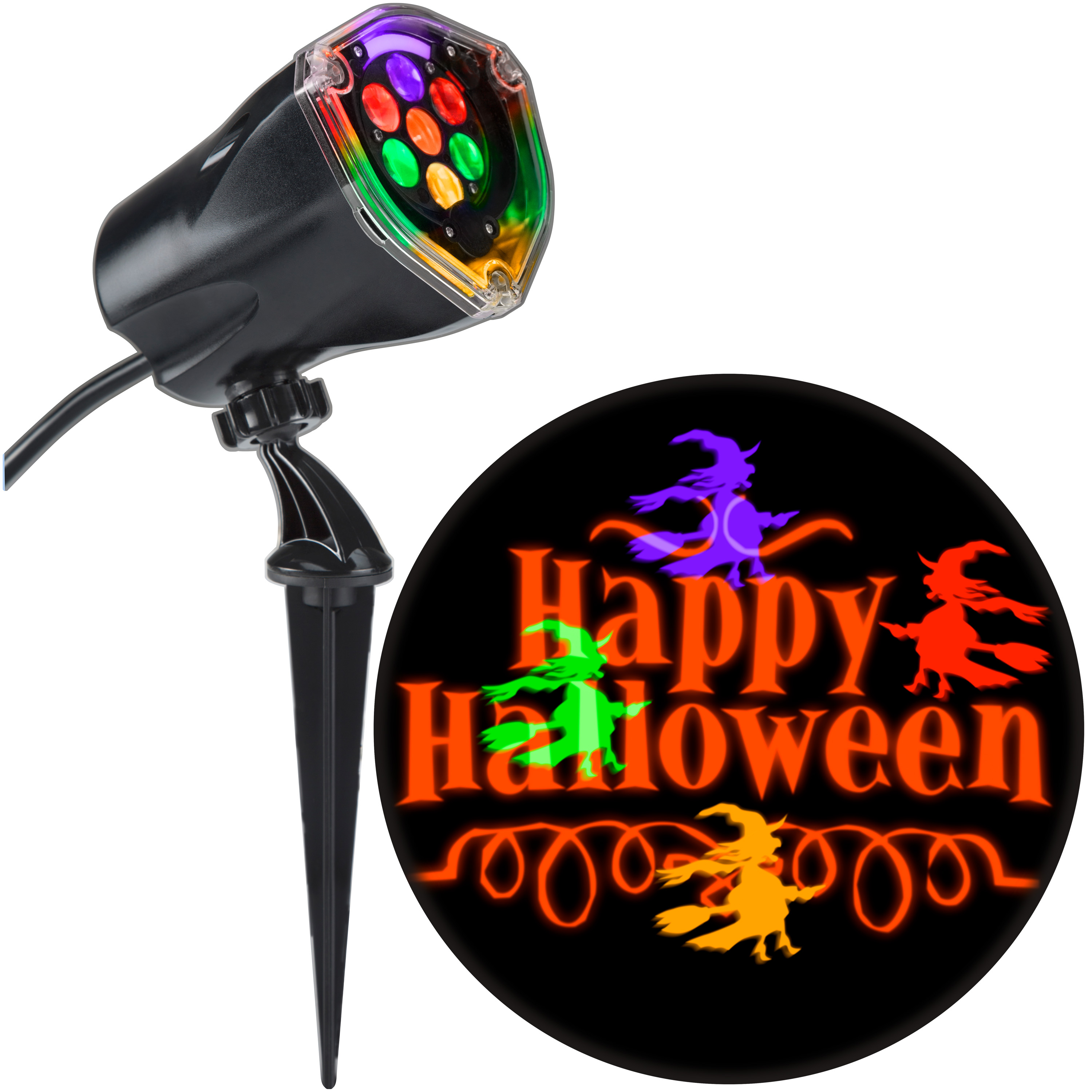 """Halloween Lightshow Projection Plus-Whirl-a-Motion+Static-Witch w/ """"Happy Halloween"""""""