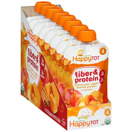 (Happy Tot® Organics Fiber & Protein Organic Pears, Apples, Peaches, Pumpkin + Cinnamon Fruit & Veggie Blend 8-4 oz. Pouch)