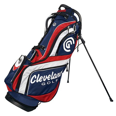 Cleveland Staff Bag (Cleveland Golf 14 Way Divider Stand Bag with 6 Zippered Pockets, Red/White/Blue )