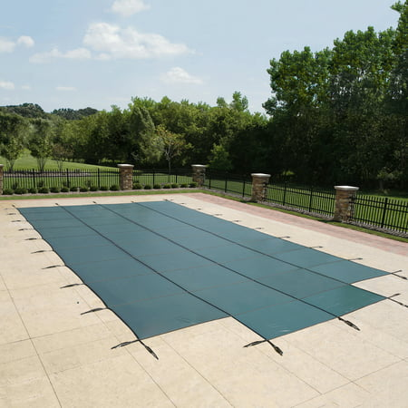 Blue Wave 18-Year Mesh In-Ground Pool Safety Cover w/ 4-ft x 8-ft Center Step - Green (Step Safety Pool Cover)