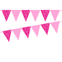 Hot Pink Flower/Solid Pink 10ft Vintage Pennant Banner Paper Triangle Bunting Flags for Weddings, Birthdays, Baby Showers, Events & Parties