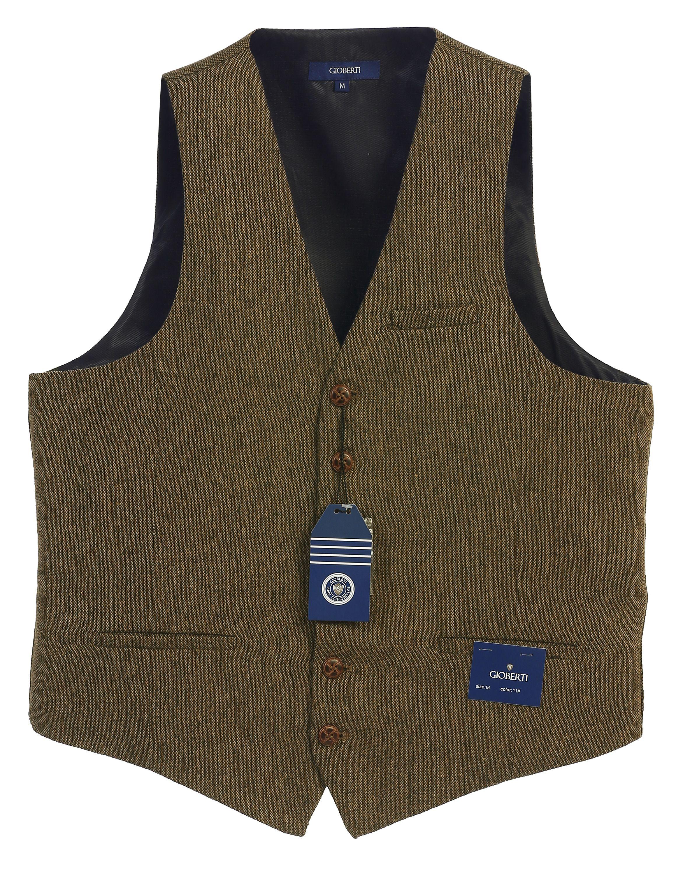 Gioberti Men's 6 Button Custom Formal Tweed Vest