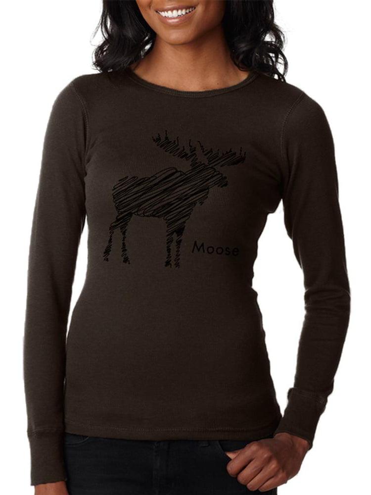 Moose Scribble Drawing Juniors Long Sleeve Thermal