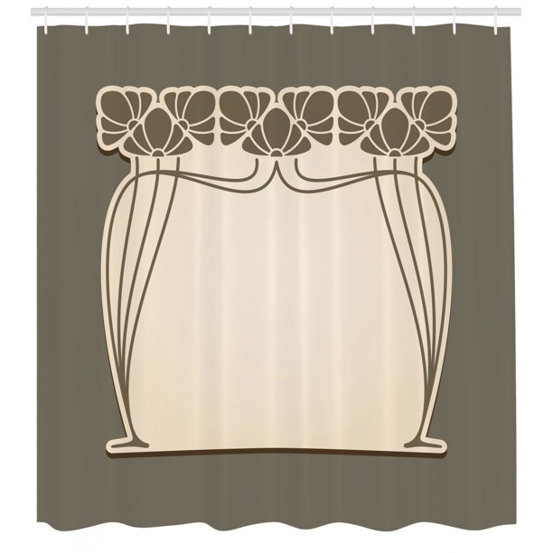 Art Nouveau Shower Curtain Flower Bouquets Forming An Arch