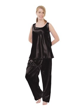 Up2date Fashion's Women's Satin Pajama Set with Cami Top in Solid Colors