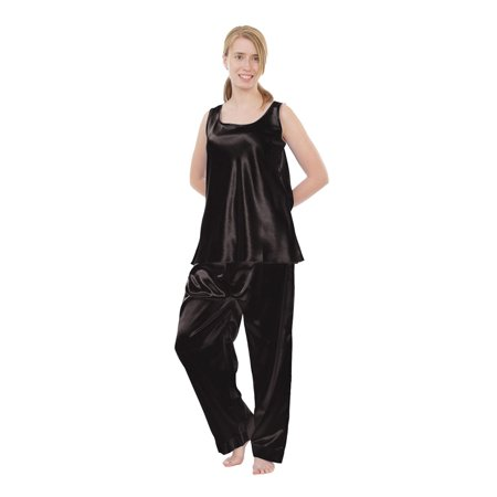 Up2date Fashion's Women's Satin Pajama Set with Cami Top in Solid - Red Plaid Christmas Pajamas