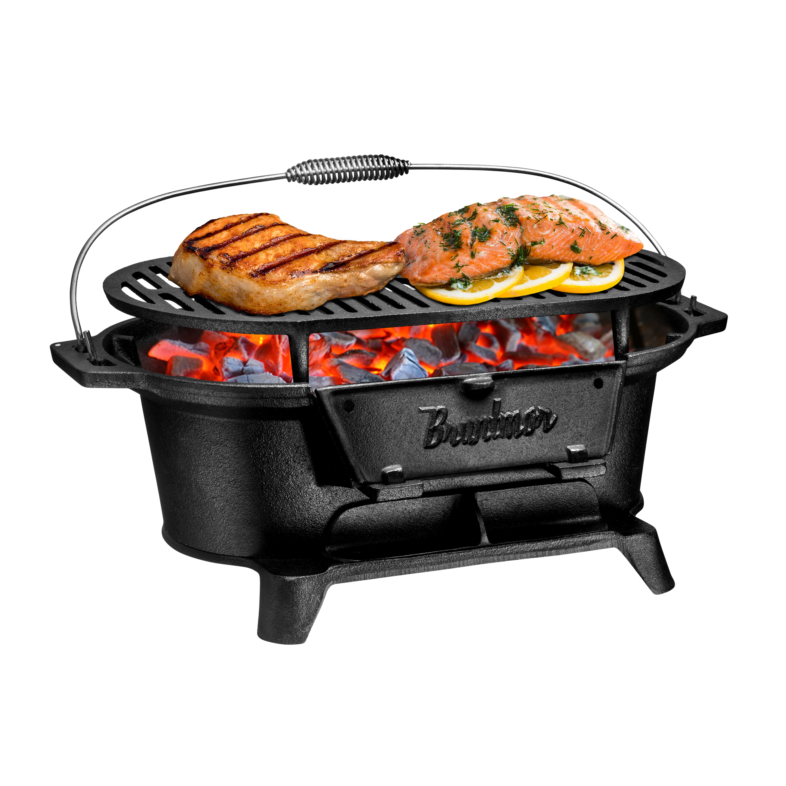 Bruntmor Cast Iron Charcoal BBQ Grill