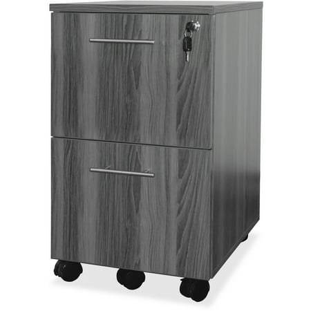 2 Drawers Vertical Wood Composite Lockable Filing Cabinet, Gray