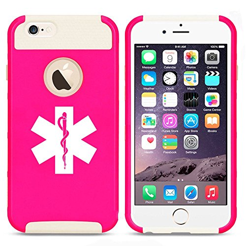 Apple iPhone 5 5s Shockproof Impact Hard Case Cover Star Of Life EMT (Hot Pink-White),MIP