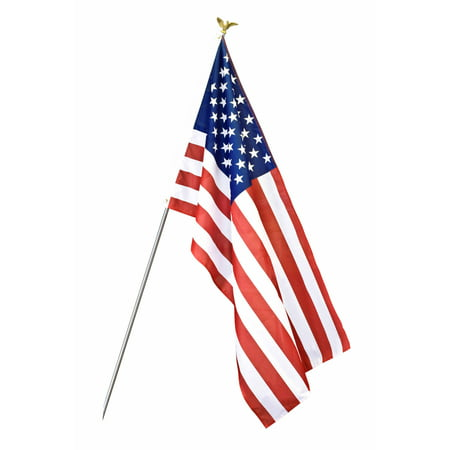 U.S. Flag Set with 6' 3-Section Aluminum Pole with American Flag, 3' x 5', Nylon SolarGuard Nyl-Glo, Model 11415