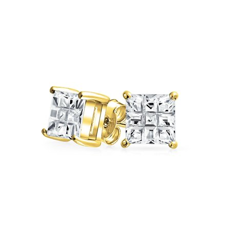 1.5 Ct Princess Cut (1.5CT Invisible Cut Square Princess CZ Checkboard Cubic Zirconia Stud Earrings 14K Gold Plated Sterling)