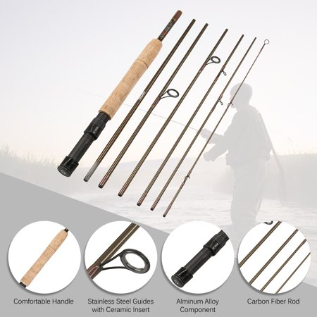 Fly Fishing Rod 7 Sections Detachable Portable Lightweight Carbon Fiber Fishing Pole 7.5ft/2.3m with Rod (Best 7 Weight Fly Rod)