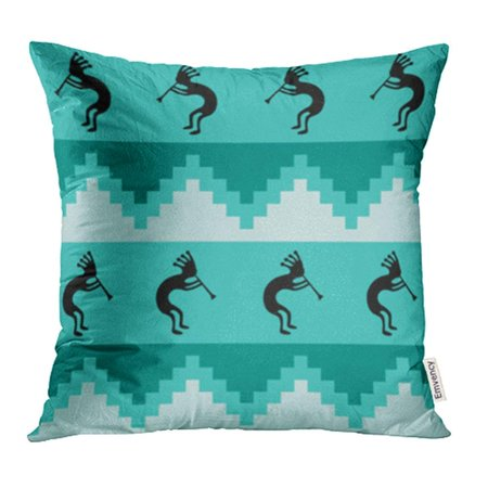 USART Blue Southwest Southwestern Design in Cool Turquoise Colors Kokopelli Pillow Case Pillow Cover 16x16 inch Throw Pillow Covers (Rustic Turquoise Throw Pillows)